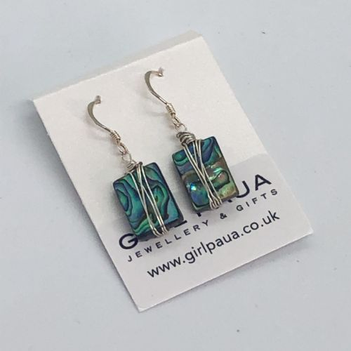 Paua & Silver Wire Wrap Earrings - Rectangle PE06-WR
